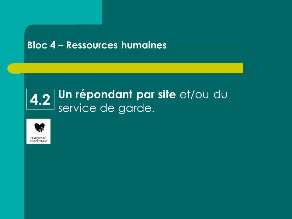 Un répondant par site et/ou du service de garde. Bloc 4 – Ressources humaines 4.2