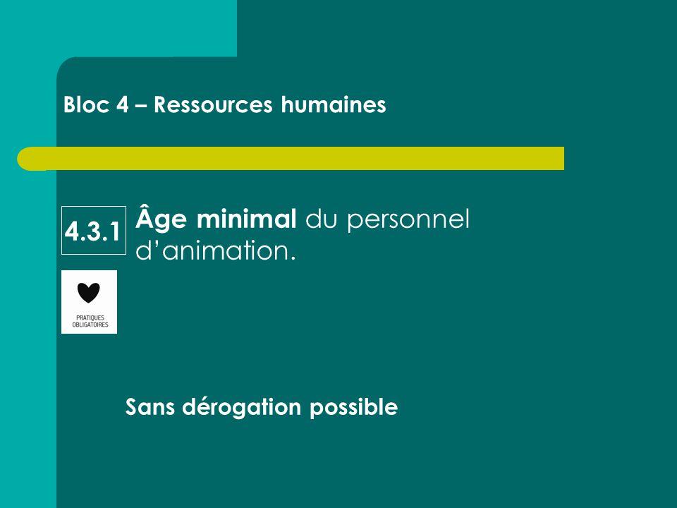 Âge minimal du personnel d'animation. Sans dérogation possible Bloc 4 – Ressources humaines 4.3.1