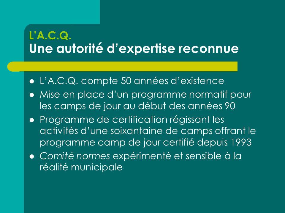 L'A.C.Q. Une autorité d'expertise reconnue  L'A.C.Q.