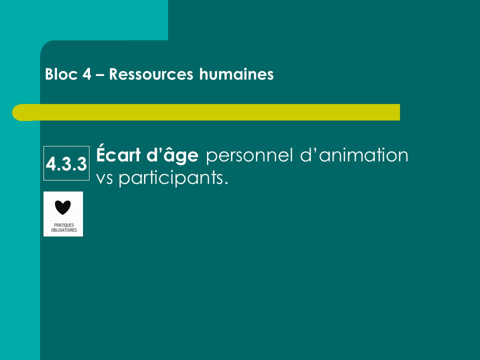 Écart d'âge personnel d'animation vs participants. Bloc 4 – Ressources humaines 4.3.3