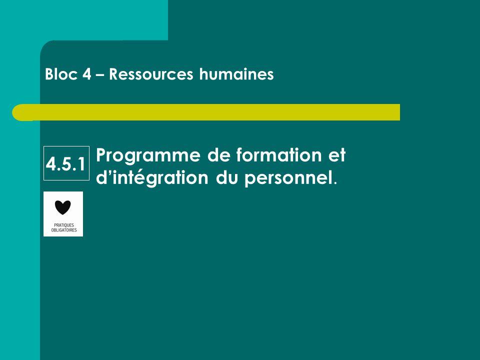 Programme de formation et d'intégration du personnel. Bloc 4 – Ressources humaines 4.5.1