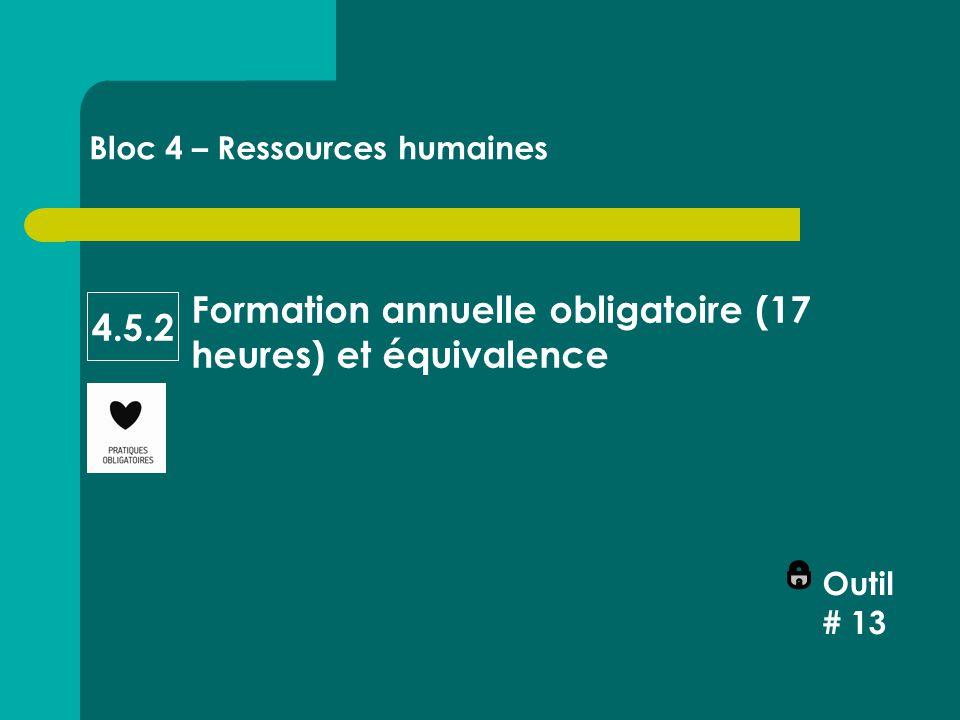 Formation annuelle obligatoire (17 heures) et équivalence Bloc 4 – Ressources humaines 4.5.2 Outil # 13