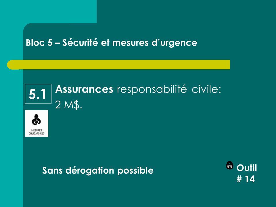 Assurances responsabilité civile: 2 M$.