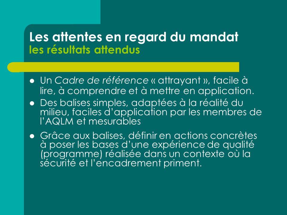Les attentes en regard du mandat les résultats attendus  Un Cadre de référence « attrayant », facile à lire, à comprendre et à mettre en application.