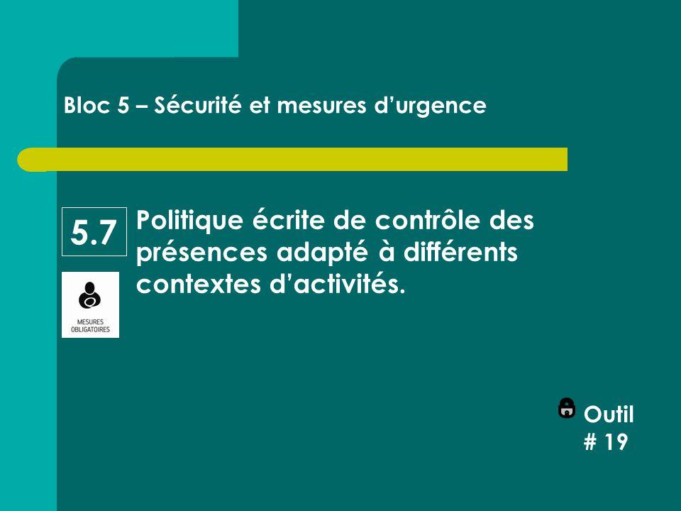 Politique écrite de contrôle des présences adapté à différents contextes d'activités.