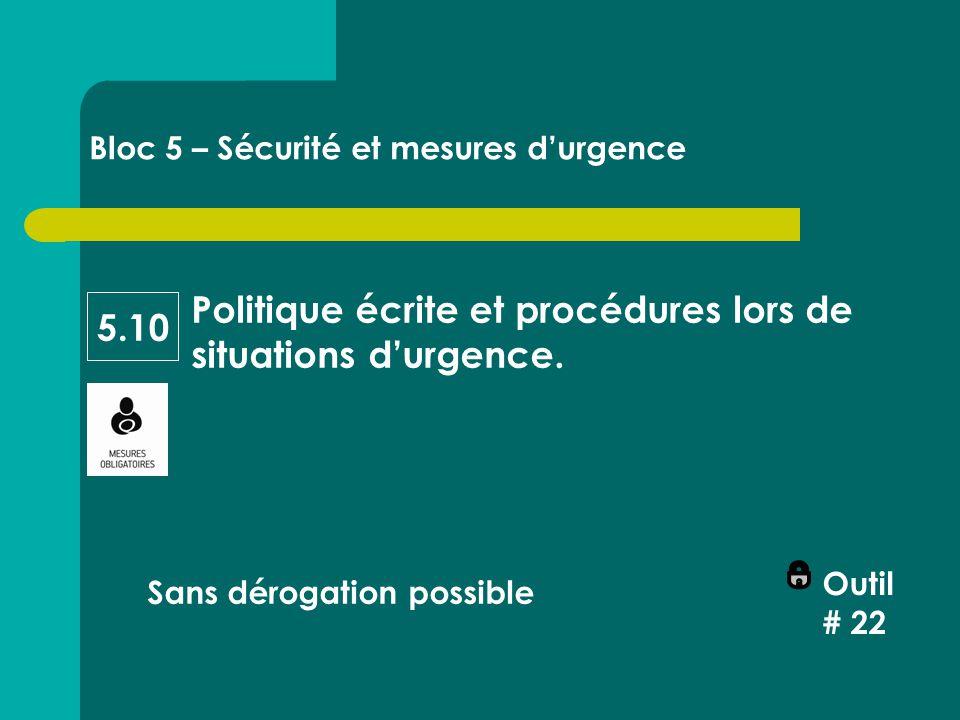 Politique écrite et procédures lors de situations d'urgence.