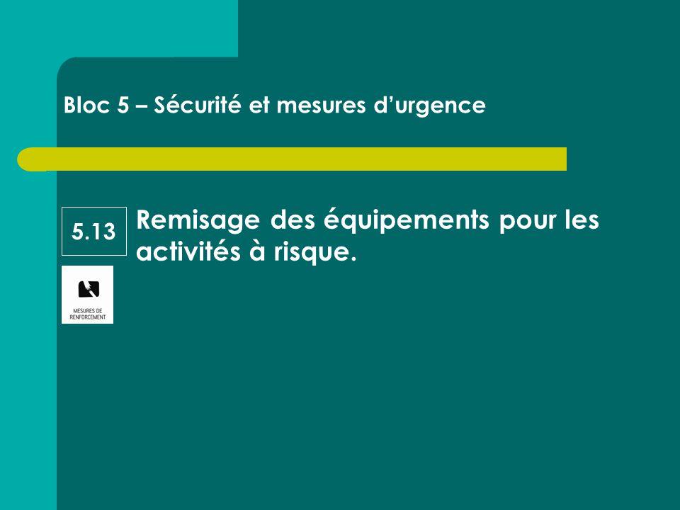 Remisage des équipements pour les activités à risque. Bloc 5 – Sécurité et mesures d'urgence 5.13