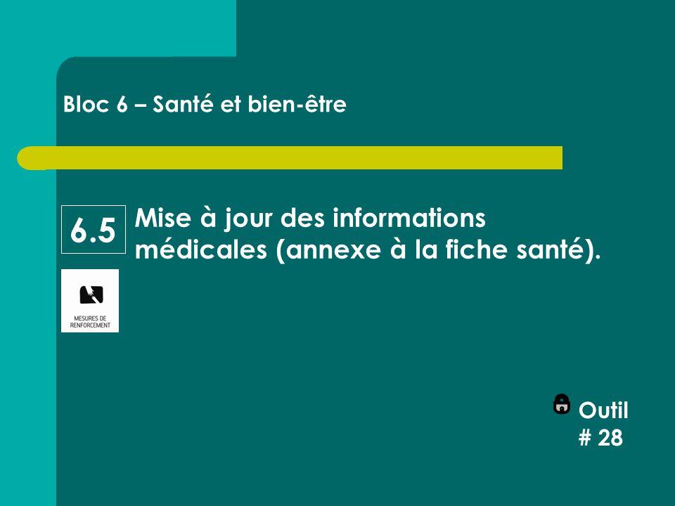 Mise à jour des informations médicales (annexe à la fiche santé).