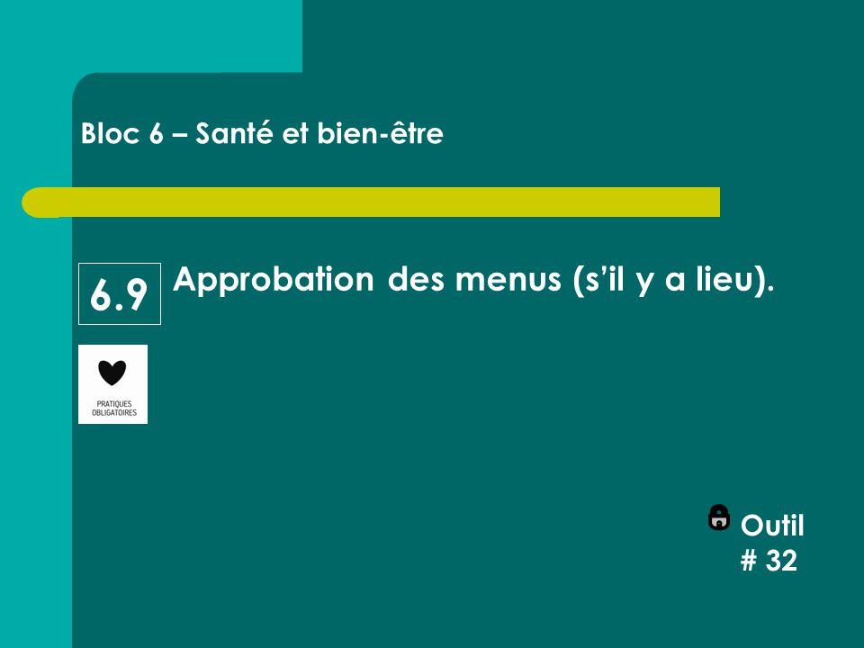 Approbation des menus (s'il y a lieu). Outil # 32 Bloc 6 – Santé et bien-être 6.9