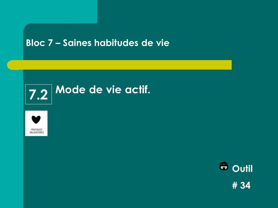 Mode de vie actif. Outil # 34 Bloc 7 – Saines habitudes de vie 7.2