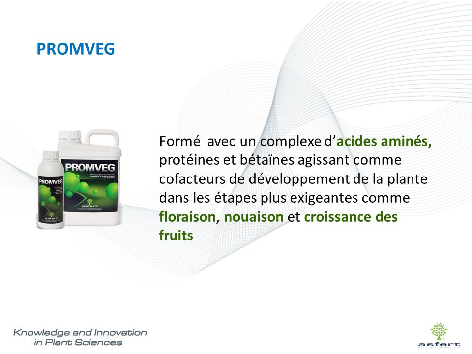 PROMVEG Formé avec un complexe d'acides aminés, protéines et bétaïnes agissant comme cofacteurs de développement de la plante dans les étapes plus exi