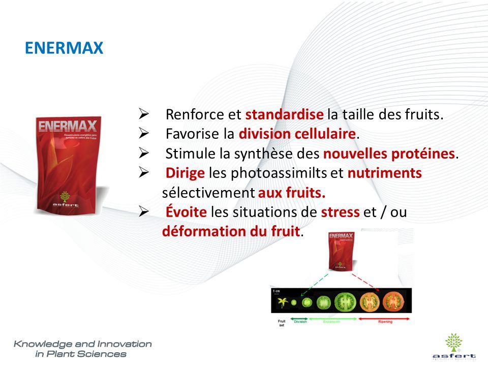 ENERMAX  Renforce et standardise la taille des fruits.  Favorise la division cellulaire.  Stimule la synthèse des nouvelles protéines.  Dirige les
