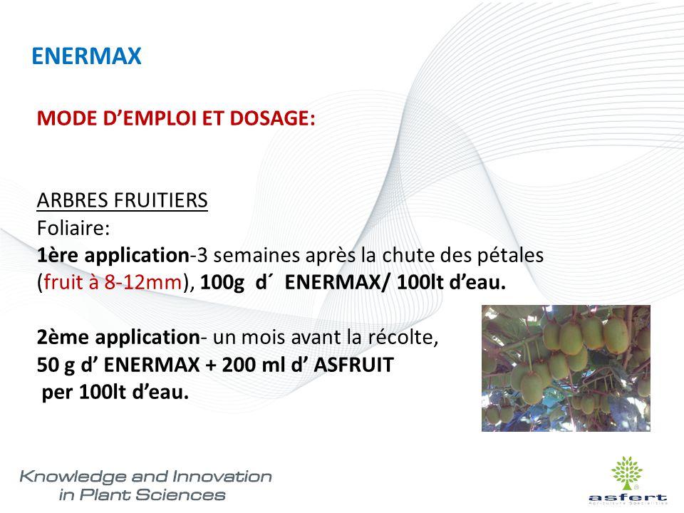 MODE D'EMPLOI ET DOSAGE: ARBRES FRUITIERS Foliaire: 1ère application-3 semaines après la chute des pétales (fruit à 8-12mm), 100g d´ ENERMAX/ 100lt d'