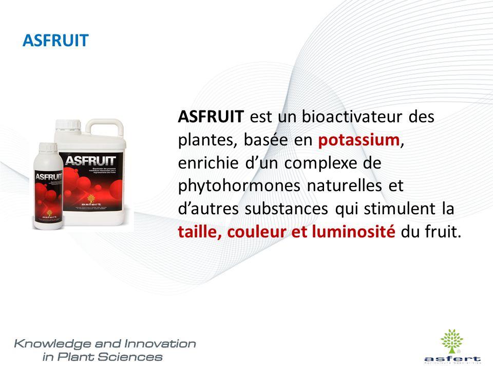 ASFRUIT est un bioactivateur des plantes, basée en potassium, enrichie d'un complexe de phytohormones naturelles et d'autres substances qui stimulent