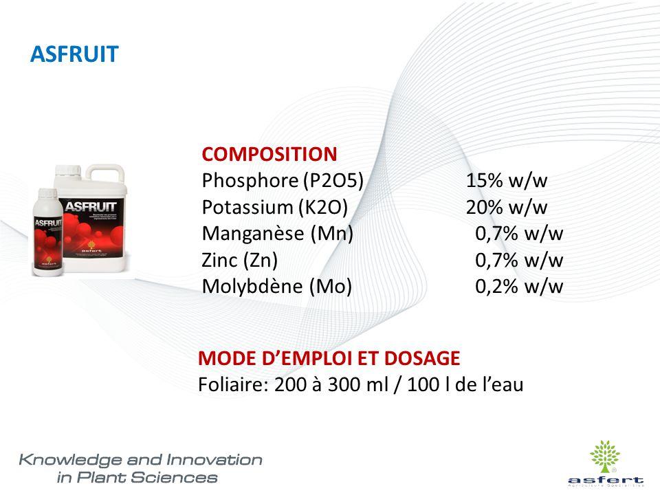 COMPOSITION Phosphore (P2O5) 15% w/w Potassium (K2O) 20% w/w Manganèse (Mn) 0,7% w/w Zinc (Zn) 0,7% w/w Molybdène (Mo) 0,2% w/w MODE D'EMPLOI ET DOSAG