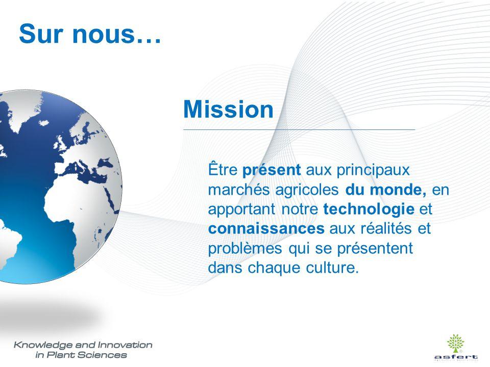 Mission Être présent aux principaux marchés agricoles du monde, en apportant notre technologie et connaissances aux réalités et problèmes qui se prése