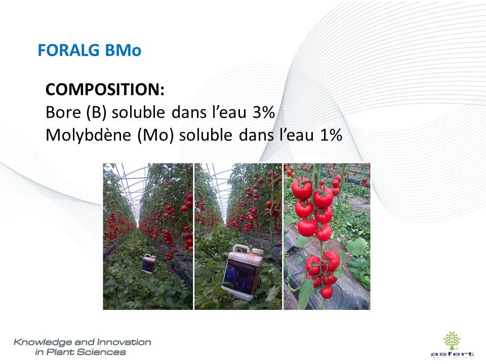 FORALG BMo MODE D'EMPLOI ET DOSAGE Il est recommandé de faire 2-3 applications par cycle, compris la floraison / nouaison et périodes de stress d'eau/chaleur.