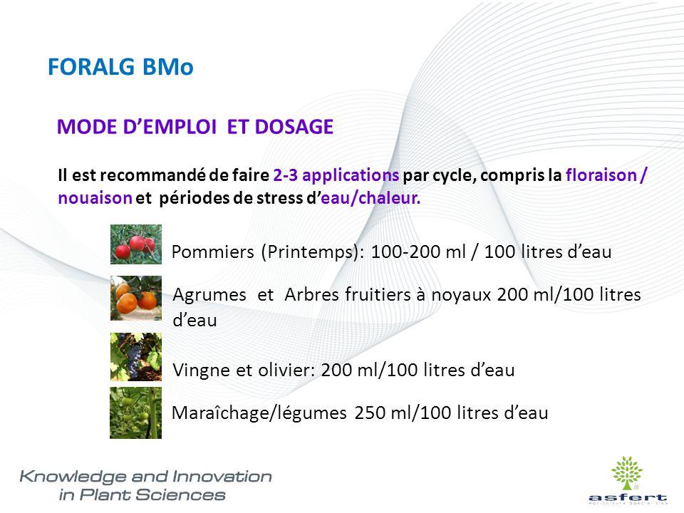 FORALG BMo MODE D'EMPLOI ET DOSAGE Il est recommandé de faire 2-3 applications par cycle, compris la floraison / nouaison et périodes de stress d'eau/