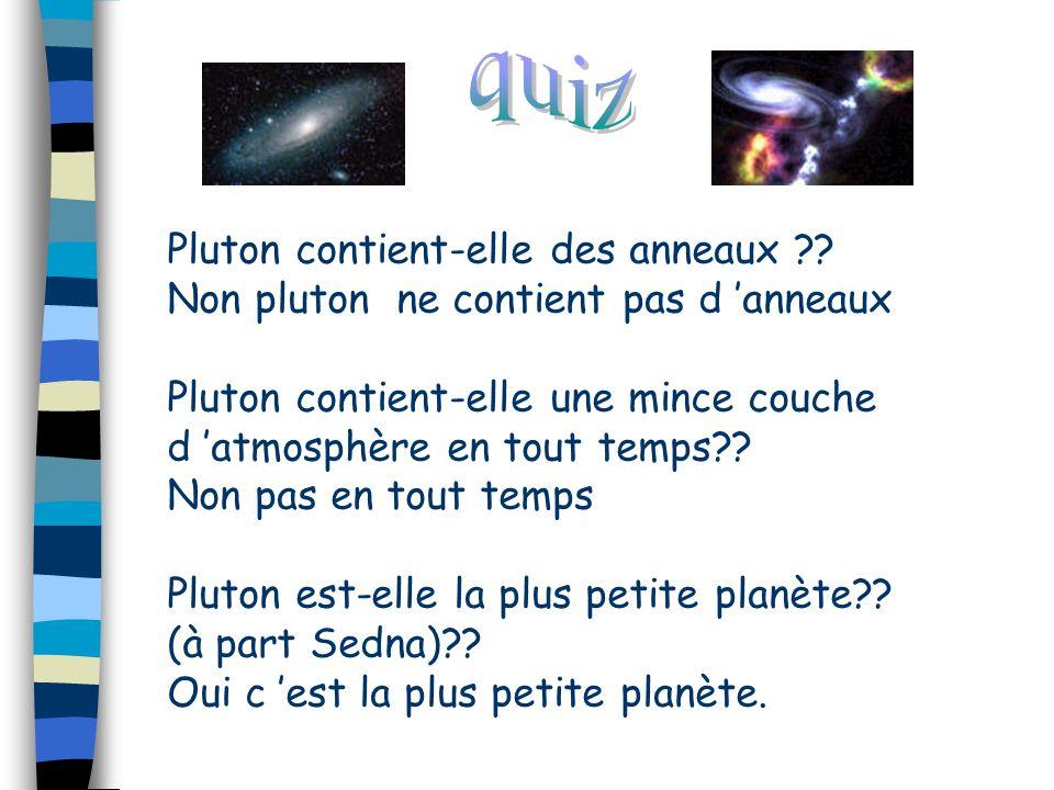 Pluton contient-elle des anneaux ?? Non pluton ne contient pas d 'anneaux Pluton contient-elle une mince couche d 'atmosphère en tout temps?? Non pas