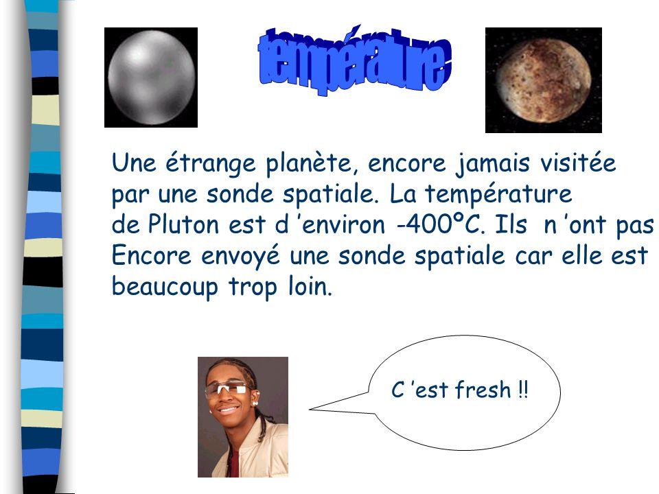 Une étrange planète, encore jamais visitée par une sonde spatiale. La température de Pluton est d 'environ -400ºC. Ils n 'ont pas Encore envoyé une so