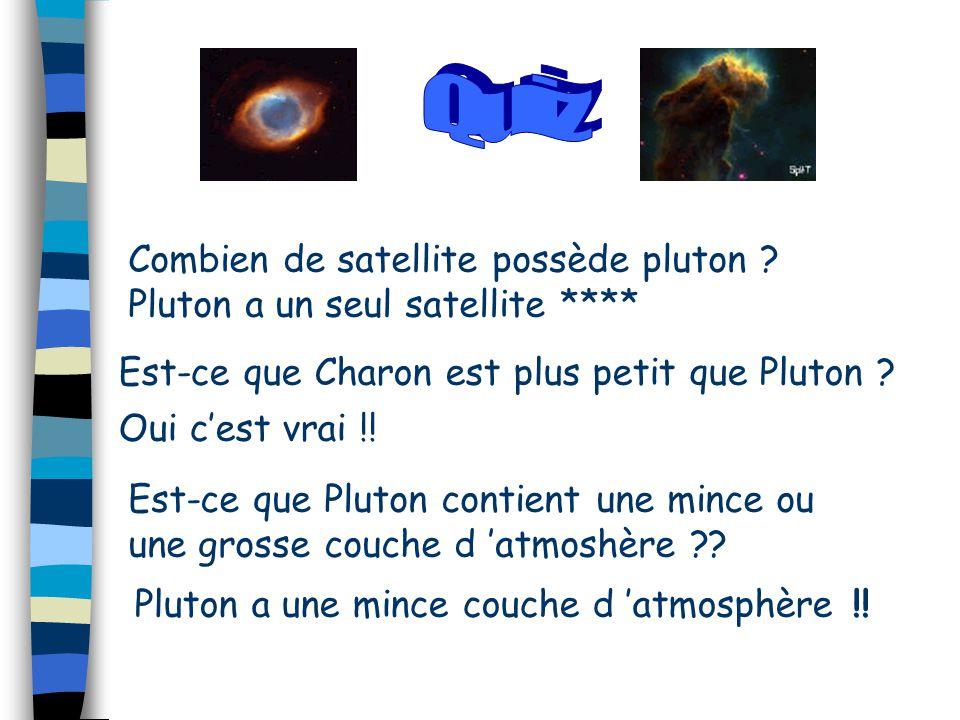 Combien de satellite possède pluton ? Pluton a un seul satellite **** Est-ce que Charon est plus petit que Pluton ? Oui c'est vrai !! Est-ce que Pluto