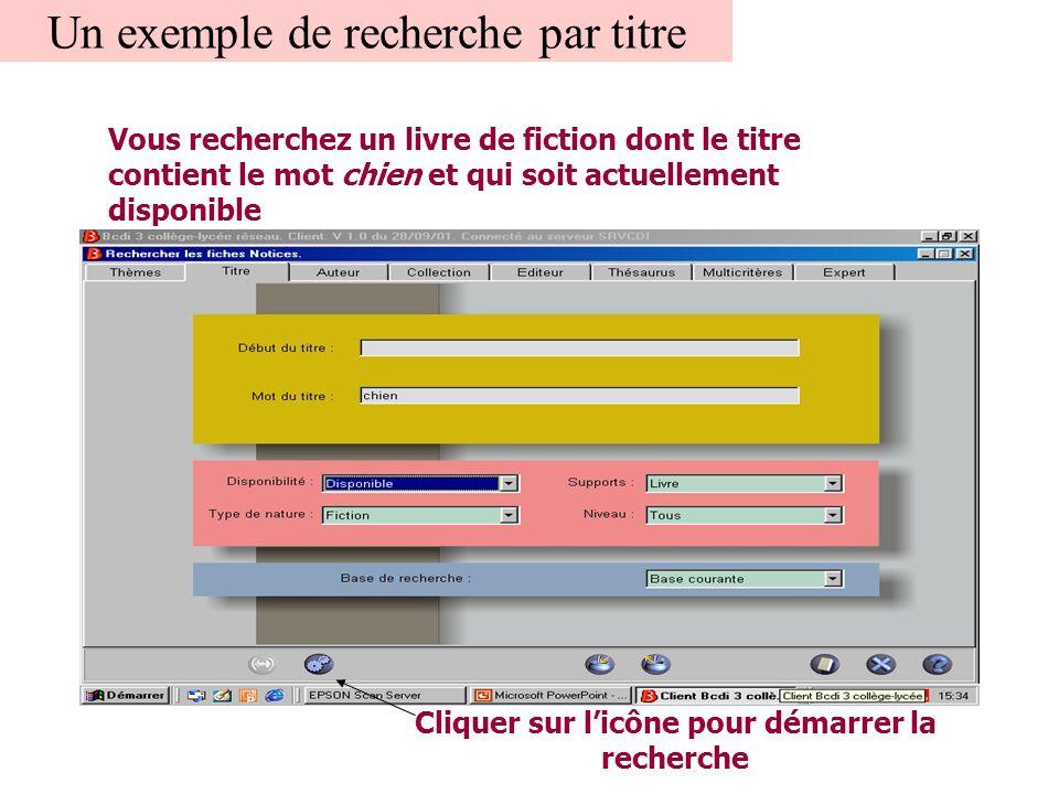 Un exemple de recherche par titre Vous recherchez un livre de fiction dont le titre contient le mot chien et qui soit actuellement disponible Cliquer sur l'icône pour démarrer la recherche