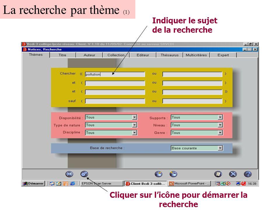 La recherche par thème (1) Indiquer le sujet de la recherche Cliquer sur l'icône pour démarrer la recherche