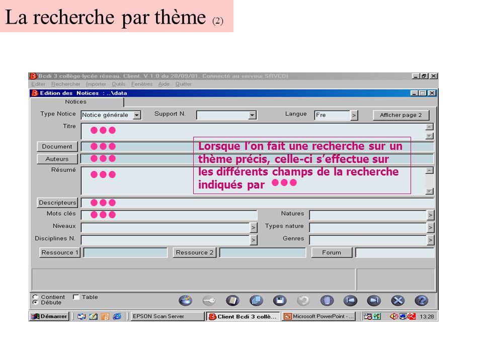 Un exemple de recherche par titre La liste de notices bibliographiques propose : le titre du document sa cote et sa disponibilité.