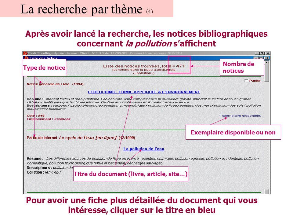 La recherche par thème (4) Après avoir lancé la recherche, les notices bibliographiques concernant la pollution s'affichent Nombre de notices Type de notice Titre du document (livre, article, site…) Pour avoir une fiche plus détaillée du document qui vous intéresse, cliquer sur le titre en bleu Exemplaire disponible ou non