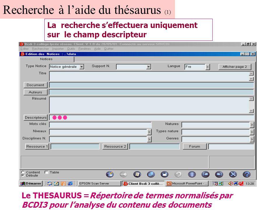Recherche à l'aide du thésaurus (2) Cliquer ici pour avoir accès au thésaurus