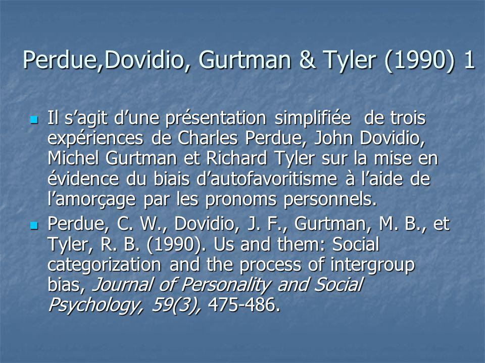 Perdue,Dovidio, Gurtman & Tyler (1990) 2  Les auteurs adoptent la technique de l'amorçage sur du matériel langagier pour tester les hypothèses de la catégorisation.