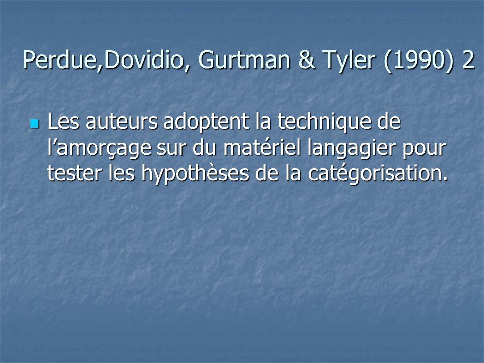 Perdue,Dovidio, Gurtman & Tyler (1990) 3  Partant de l'idée que les pronoms nous / ils eux et les adjectifs possessifs notre / leur sont directement liés à la catégorisation cognitive des membres de l'endogroupe et de l'exogroupe, ils font l'hypothèse que leur manipulation entraînera automatiquement un biais dans l'évaluation de personnes inconnues (discrédit de l'exogroupe).