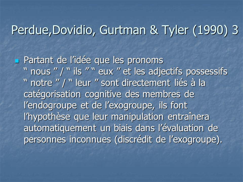Perdue,Dovidio, Gurtman & Tyler (1990)  Nous, Notre, … endo-groupe  Eux, Ils, leur,… exo-groupe