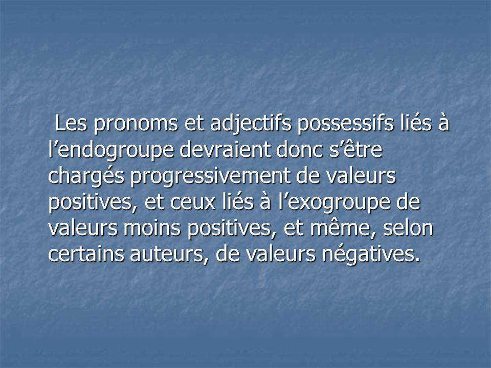 Les pronoms et adjectifs possessifs liés à l'endogroupe devraient donc s'être chargés progressivement de valeurs positives, et ceux liés à l'exogroupe