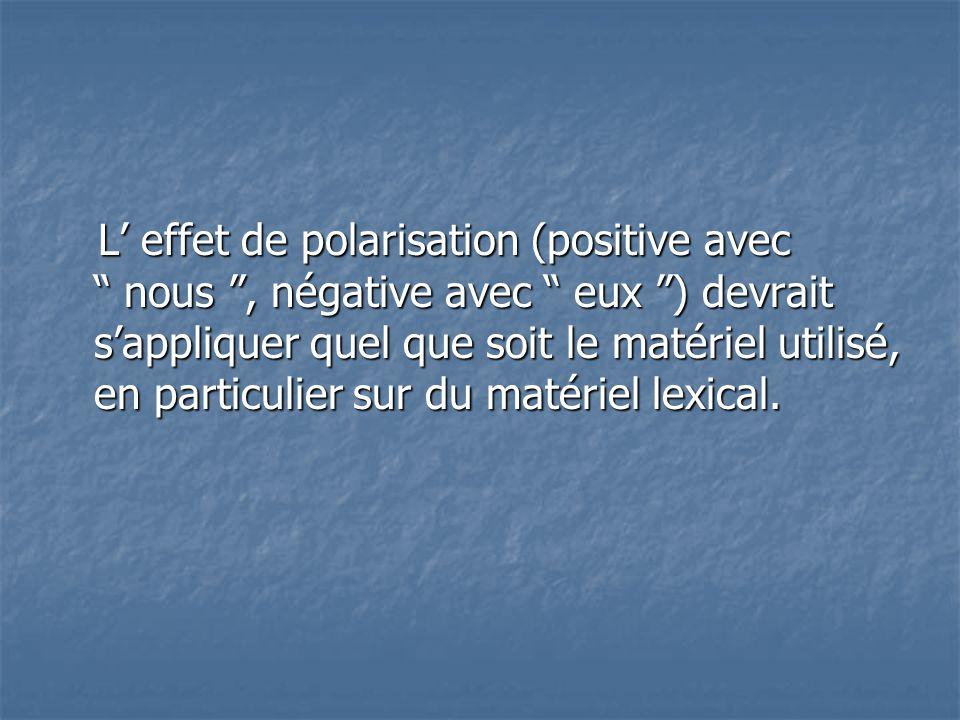 """L' effet de polarisation (positive avec """" nous """", négative avec """" eux """") devrait s'appliquer quel que soit le matériel utilisé, en particulier sur du"""