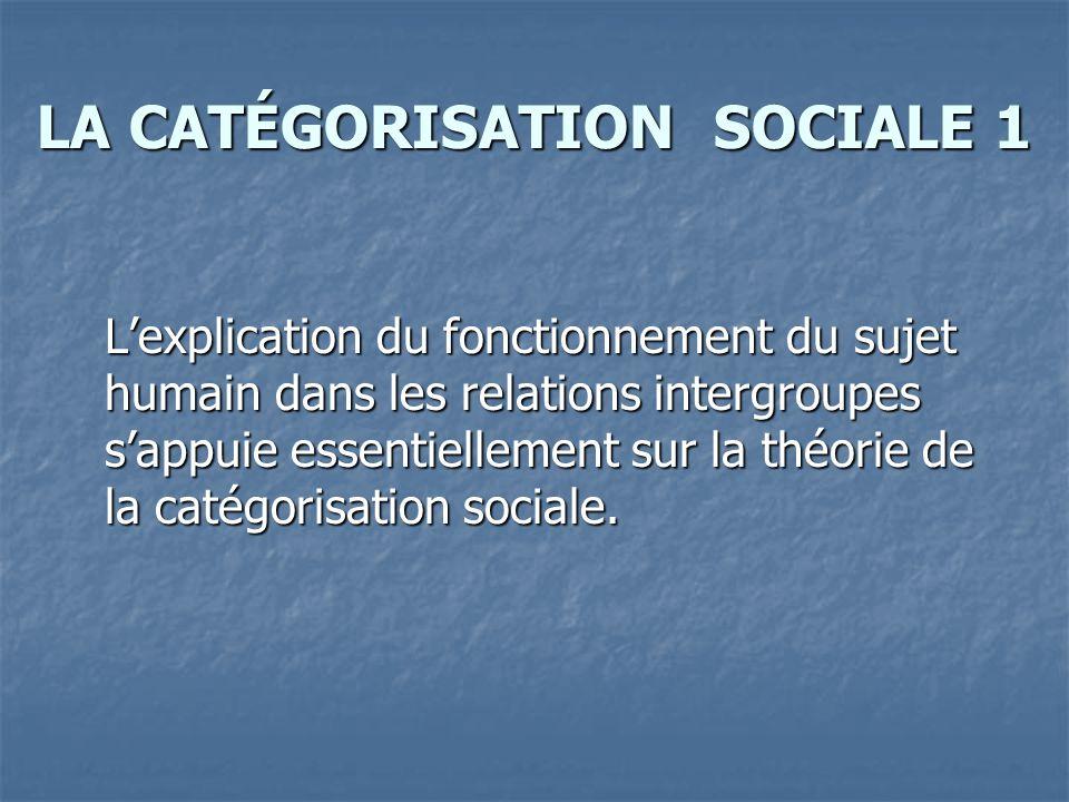 LA CATÉGORISATION SOCIALE 1 L'explication du fonctionnement du sujet humain dans les relations intergroupes s'appuie essentiellement sur la théorie de