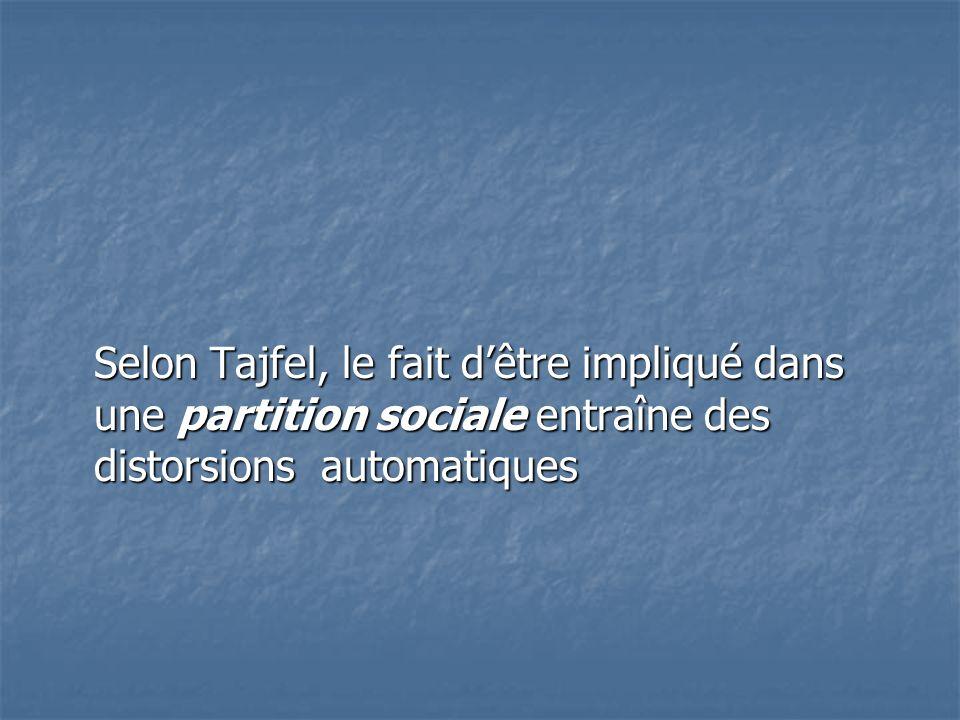 Selon Tajfel, le fait d'être impliqué dans une partition sociale entraîne des distorsions automatiques