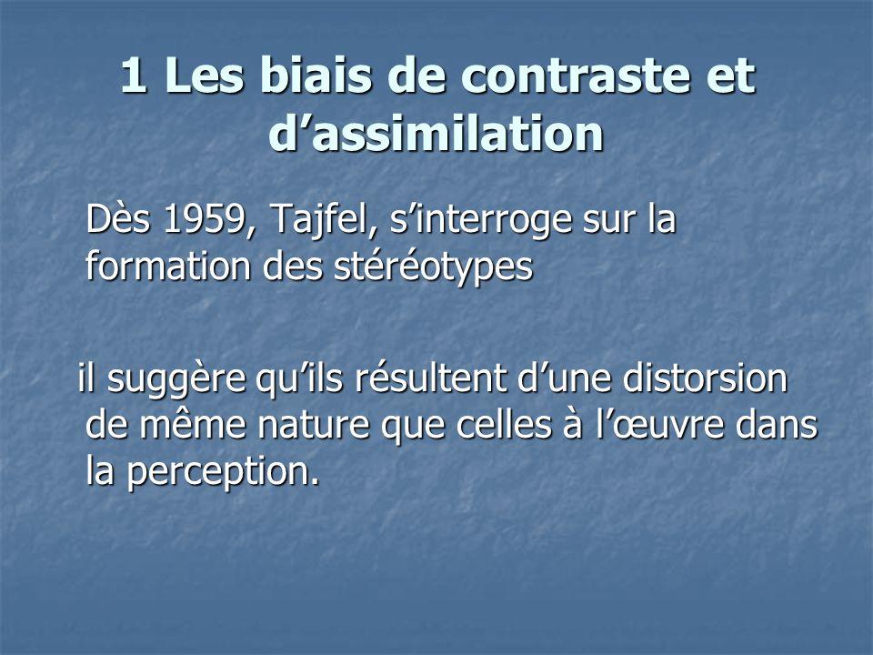 1 Les biais de contraste et d'assimilation  Stéréotype = distorsion perceptive  Pour confronter cette idée aux faits, il met au point avec A.