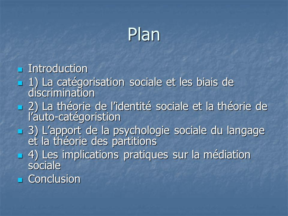 Plan  Introduction  1) La catégorisation sociale et les biais de discrimination  2) La théorie de l'identité sociale et la théorie de l'auto-catégo