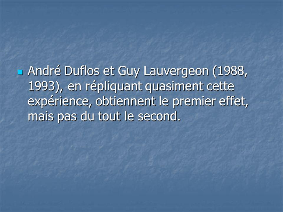  André Duflos et Guy Lauvergeon (1988, 1993), en répliquant quasiment cette expérience, obtiennent le premier effet, mais pas du tout le second.