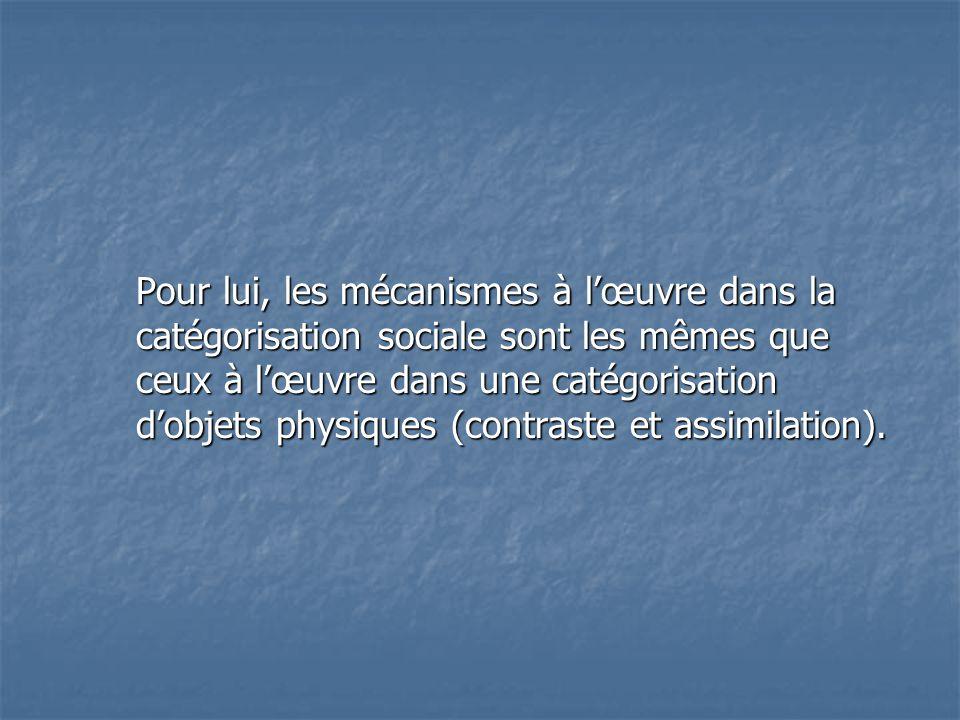 Pour lui, les mécanismes à l'œuvre dans la catégorisation sociale sont les mêmes que ceux à l'œuvre dans une catégorisation d'objets physiques (contra