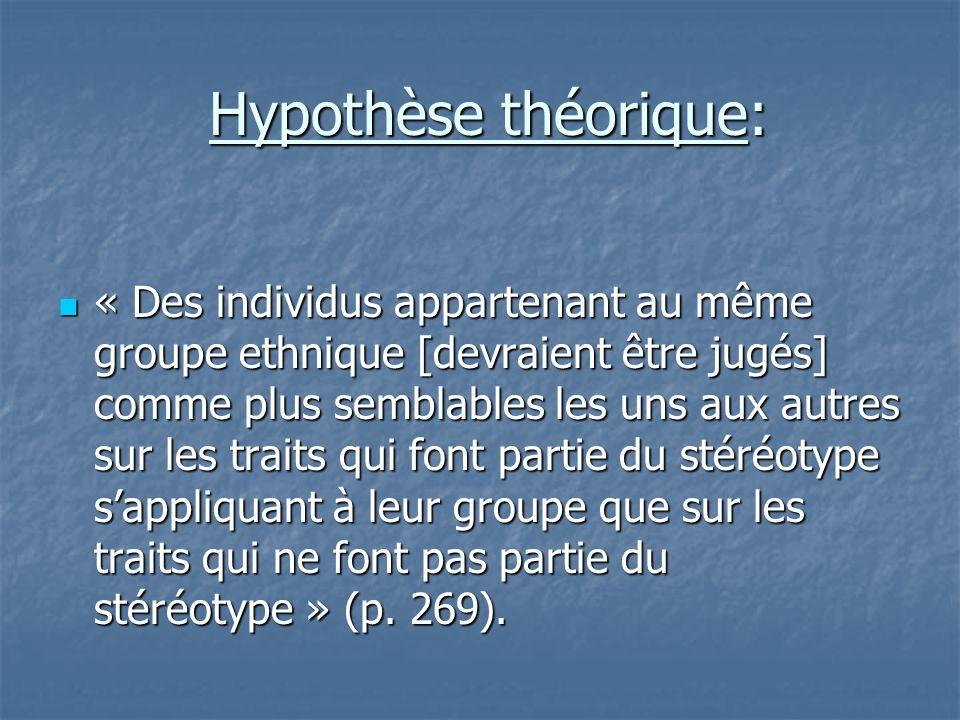 Hypothèse théorique: Hypothèse théorique:  « Des individus appartenant au même groupe ethnique [devraient être jugés] comme plus semblables les uns a