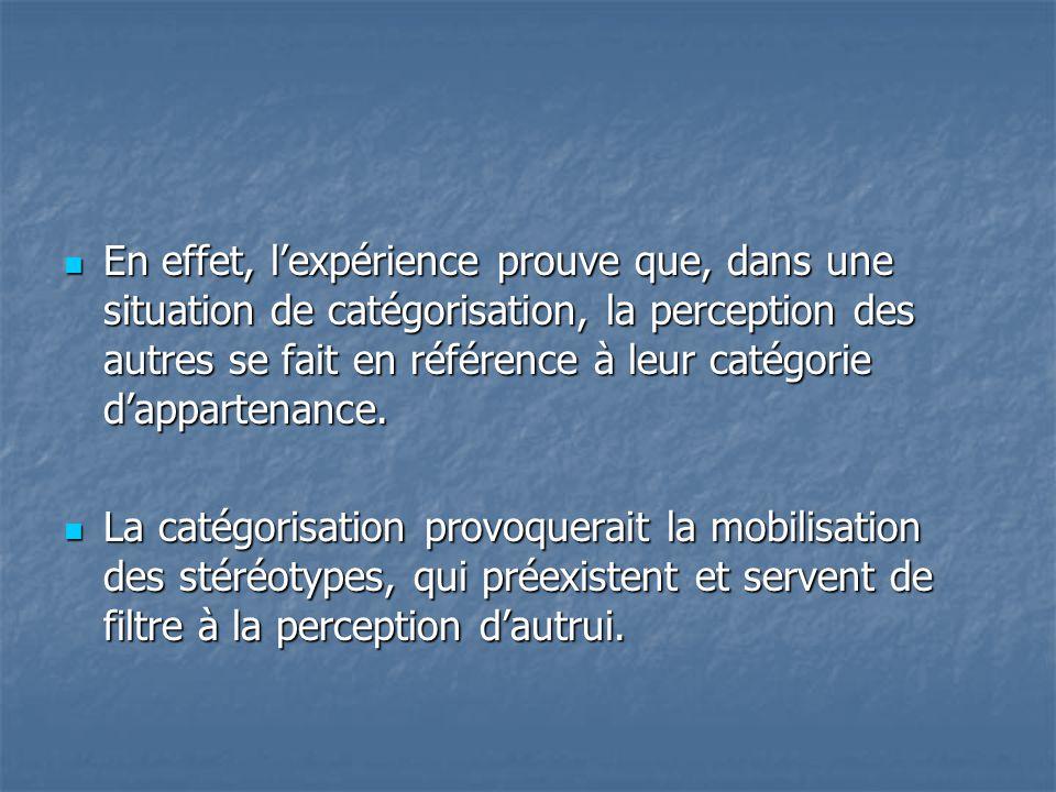 En effet, l'expérience prouve que, dans une situation de catégorisation, la perception des autres se fait en référence à leur catégorie d'appartenan