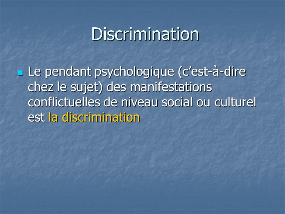 Discrimination Discrimination  Le pendant psychologique (c'est-à-dire chez le sujet) des manifestations conflictuelles de niveau social ou culturel e