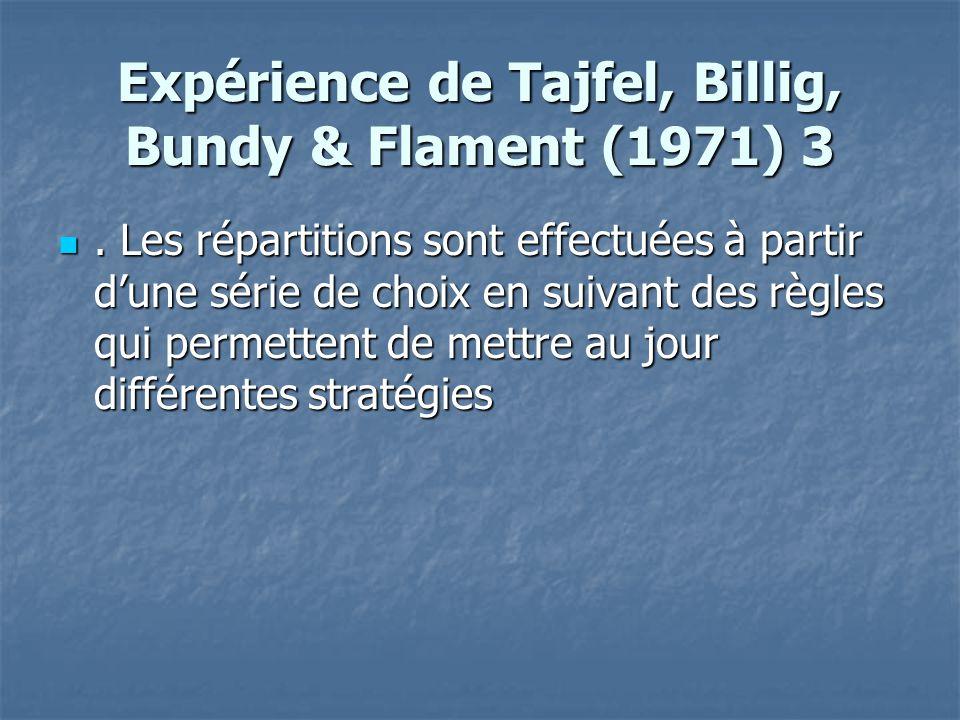 Expérience de Tajfel, Billig, Bundy & Flament (1971) 3 . Les répartitions sont effectuées à partir d'une série de choix en suivant des règles qui per