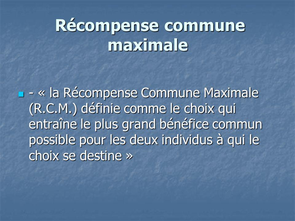 Récompense commune maximale Récompense commune maximale  - « la Récompense Commune Maximale (R.C.M.) définie comme le choix qui entraîne le plus gran