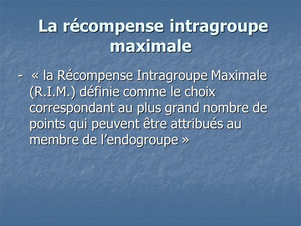 La récompense intragroupe maximale La récompense intragroupe maximale - « la Récompense Intragroupe Maximale (R.I.M.) définie comme le choix correspon