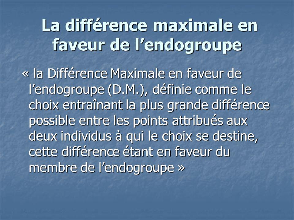 La différence maximale en faveur de l'endogroupe La différence maximale en faveur de l'endogroupe « la Différence Maximale en faveur de l'endogroupe (