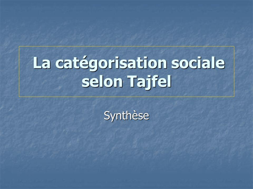 La catégorisation sociale selon Tajfel La catégorisation sociale selon Tajfel Synthèse