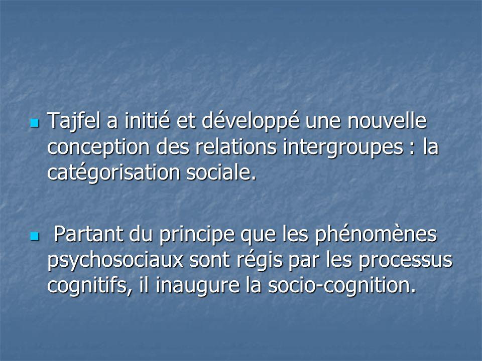  Tajfel a initié et développé une nouvelle conception des relations intergroupes : la catégorisation sociale.  Partant du principe que les phénomène